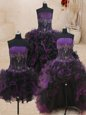 Four Piece Floor Length Ball Gowns Sleeveless Black and Purple Quince Ball Gowns Lace Up