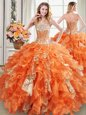 Orange Lace Up Vestidos de Quinceanera Beading and Ruffles and Sequins Sleeveless Floor Length