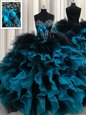 Suitable Black and Blue Organza and Tulle Lace Up Sweetheart Sleeveless Floor Length 15 Quinceanera Dress Beading and Ruffles and Hand Made Flower