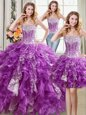 Three Piece Sleeveless Floor Length Beading and Ruffles and Sequins Lace Up Quinceanera Dress with Purple
