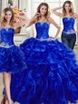 Three Piece Ball Gowns Quinceanera Gown Royal Blue Strapless Organza Sleeveless Floor Length Lace Up