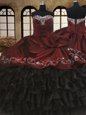 Eye-catching Sleeveless Floor Length Beading and Embroidery and Ruffled Layers Lace Up Quinceanera Dress with Red And Black