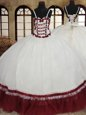 Four Piece Scoop Sleeveless Organza Sweet 16 Dresses Beading and Ruffles Lace Up