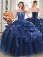 Low Price Floor Length Navy Blue Quince Ball Gowns Organza Sleeveless Beading and Pick Ups