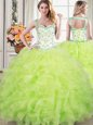 Decent Straps Yellow Green Lace Up Sweet 16 Dresses Beading and Lace and Ruffles Sleeveless Floor Length