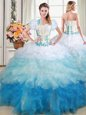 Four Piece Floor Length White Ball Gown Prom Dress Tulle Sleeveless Beading