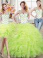 Three Piece Organza Straps Sleeveless Lace Up Beading and Lace and Ruffles Quinceanera Dress in Yellow Green