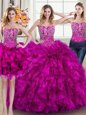 Three Piece Fuchsia Sweetheart Neckline Beading and Ruffles Ball Gown Prom Dress Sleeveless Lace Up