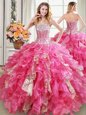 Three Piece Multi-color Ball Gowns Sweetheart Sleeveless Tulle Floor Length Lace Up Beading and Ruffles 15th Birthday Dress