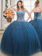 Low Price Teal Sleeveless Floor Length Beading Lace Up 15 Quinceanera Dress