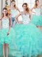 Glorious Four Piece Straps Floor Length Ball Gowns Sleeveless Aqua Blue Vestidos de Quinceanera Lace Up
