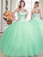 Flirting Floor Length Apple Green Ball Gown Prom Dress Sweetheart Sleeveless Lace Up
