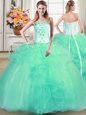 Colorful Turquoise Tulle Lace Up Quinceanera Dress Sleeveless Floor Length Beading and Appliques and Ruffles
