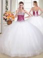 Glorious Tulle Sleeveless Floor Length Sweet 16 Quinceanera Dress and Beading