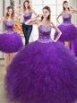 Best Four Piece Eggplant Purple Sweetheart Neckline Beading and Ruffles 15 Quinceanera Dress Sleeveless Lace Up
