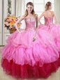 Multi-color Sweetheart Lace Up Ruffles and Sequins Quinceanera Dress Sleeveless