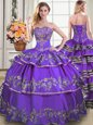 Custom Designed Taffeta Sweetheart Sleeveless Lace Up Beading and Embroidery and Ruffled Layers Sweet 16 Quinceanera Dress in Eggplant Purple