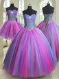 Sweet Four Piece Halter Top Tulle Sleeveless Floor Length 15 Quinceanera Dress and Beading and Pick Ups