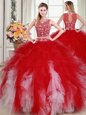 Superior Strapless Sleeveless Sweet 16 Dress Floor Length Beading and Appliques and Embroidery Fuchsia Tulle