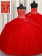 Red Lace Up 15 Quinceanera Dress Beading and Pick Ups Sleeveless Floor Length