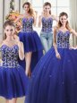 Perfect Four Piece Floor Length Royal Blue 15 Quinceanera Dress Tulle Sleeveless Beading