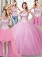 Four Piece Floor Length Rose Pink Vestidos de Quinceanera Sweetheart Sleeveless Lace Up