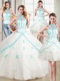 High End Four Piece Halter Top Floor Length Lace Up Sweet 16 Dress White and In for Military Ball and Sweet 16 and Quinceanera with Beading and Appliques