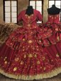 Hot Sale Floor Length Lace Up Quinceanera Gowns Wine Red and In for Military Ball and Sweet 16 and Quinceanera with Beading and Embroidery and Ruffled Layers