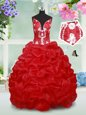 Excellent Red Spaghetti Straps Neckline Beading and Pick Ups and Hand Made Flower Flower Girl Dresses Sleeveless Lace Up