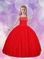 Straps Floor Length Red Little Girls Pageant Gowns Tulle Sleeveless Beading