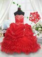 Lovely Red Lace Up Girls Pageant Dresses Beading and Ruffled Layers and Sequins and Pick Ups Sleeveless Floor Length