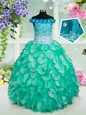 Ideal Off the Shoulder Turquoise Sleeveless Organza Lace Up Toddler Flower Girl Dress for Quinceanera and Wedding Party
