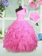 Exceptional One Shoulder Sleeveless Organza Little Girls Pageant Dress Wholesale Beading and Ruffles and Hand Made Flower Lace Up