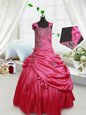 Straps Taffeta Sleeveless Floor Length Kids Pageant Dress and Beading and Appliques and Pick Ups