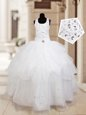 New Arrival Halter Top Sleeveless Organza Child Pageant Dress Beading and Ruffled Layers Lace Up