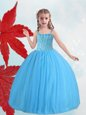 New Arrival Straps Baby Blue Ball Gowns Beading Flower Girl Dresses Lace Up Taffeta and Tulle Sleeveless Floor Length