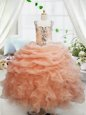 Straps Sleeveless Floor Length Beading and Ruffles and Pick Ups Zipper Kids Pageant Dress with Orange