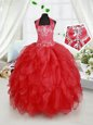 Smart Halter Top Sleeveless Floor Length Beading and Ruffles Lace Up Flower Girl Dress with Red