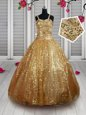 Top Selling Straps Sequins Floor Length Ball Gowns Sleeveless Gold Toddler Flower Girl Dress Lace Up