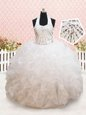 Captivating Halter Top White Sleeveless Beading and Ruffles Floor Length Toddler Flower Girl Dress