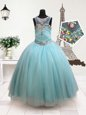 Discount Scoop Floor Length Zipper Toddler Flower Girl Dress Aqua Blue and In for Quinceanera and Wedding Party with Beading
