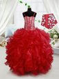 Captivating Sleeveless Lace Up Floor Length Beading and Ruffles Toddler Flower Girl Dress