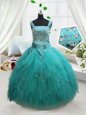 Square Turquoise Tulle Lace Up Little Girl Pageant Gowns Sleeveless Floor Length Beading and Ruffles and Belt