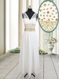 Traditional Column/Sheath Prom Dresses White V-neck Chiffon Sleeveless Ankle Length Zipper
