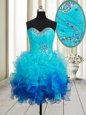 Beading and Ruffles Evening Dress Multi-color Lace Up Sleeveless Mini Length