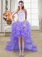 Wonderful Sweetheart Sleeveless Lace Up Prom Dresses Champagne Tulle and Lace
