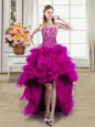 Fitting High Low Fuchsia Prom Evening Gown Organza Sleeveless Beading
