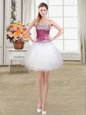 Beading Prom Evening Gown White Lace Up Sleeveless Mini Length