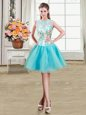 New Style Scoop See Through Aqua Blue Sleeveless Organza Zipper Junior Homecoming Dress for Military Ball and Sweet 16 and Quinceanera