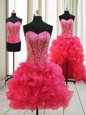 Hot Pink Organza Lace Up Prom Gown Sleeveless High Low Beading